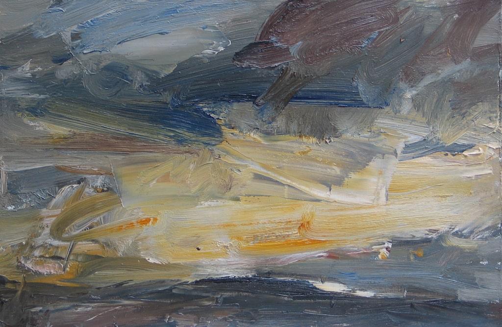 Louise Balaam 'Sun going down, yellow lake'